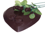 Dark chocolate valentines day package. long stem chocolate roses, three pound chocolate heart, and chocolate covered oreos
