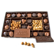 Chocolate Sampler Holiday Box made from the finest chocolate from Lang's Chocolates, caramels, cashew clusters, peanut butter cups, peanut clusters, solid milk chocolate bars, solid dark chocolate bars, meltaways, raisin clusters, buttery toffee almonds, salted cashews