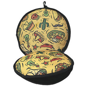 Fiesta cactus with chili peppers accompanied by flying guitars surround by a plate of nachos. Yellow fabric with black trim.