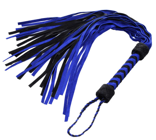 Beat them black and blue with this high quality suede flogger! The soft, flexible falls alternate in color, and are flat-tipped. The handle is woven in a herringbone pattern, for a sturdy grip and attractive look. The braided wrist loop completes the piece, for an overall stunning look and feel.  Measurements: Falls measure 18 inches in length. Material: Suede leather. Color: Blue