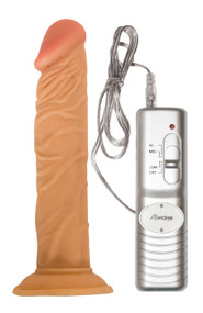 Not only is this shaft made to look and feel like a real penis, it also vibrates! This 7 inch veined shaft vibrates at 3 powerful speeds! With its suction cup, it makes it easy for one to have some hand-free pleasure. Note: Uses 3-AA batteries, Not Included.