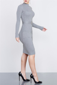 Long Sleeve Zipper Bodycon Dress