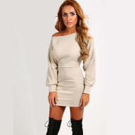 Stunning Off Shoulder Sweater Bodycon Dress
