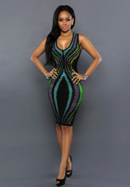 Enticing Multi-Colored Bodycon Dress