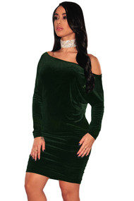 Green Velvet Off Shoulder Ruched Dress