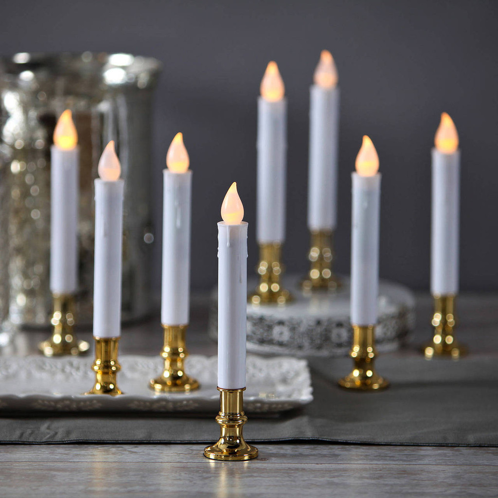 White Taper Candle with Removable Gold Base, set of FIVE, remote control