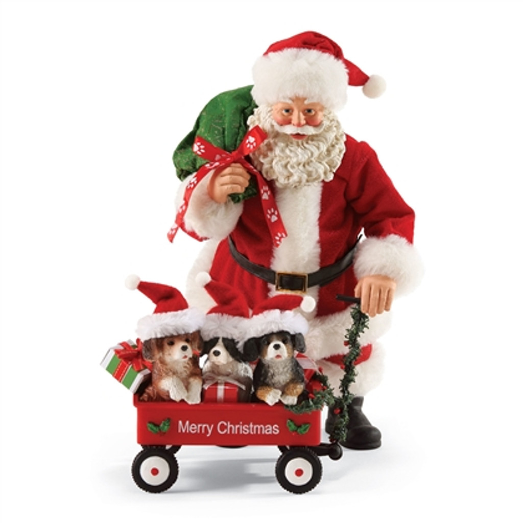 """Department 56, Possible Dreams, Santa with Wagon full of Pets """"Clothtique"""" Figurine"""