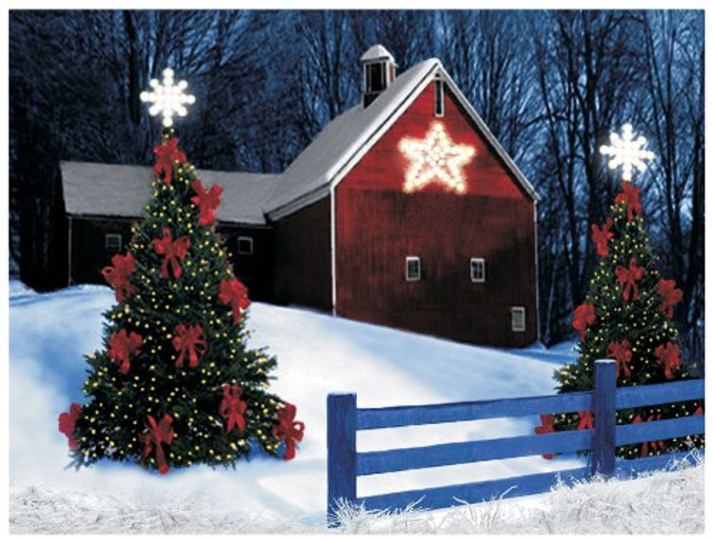 Barn with Star LED Battery Operated Lit Canvas