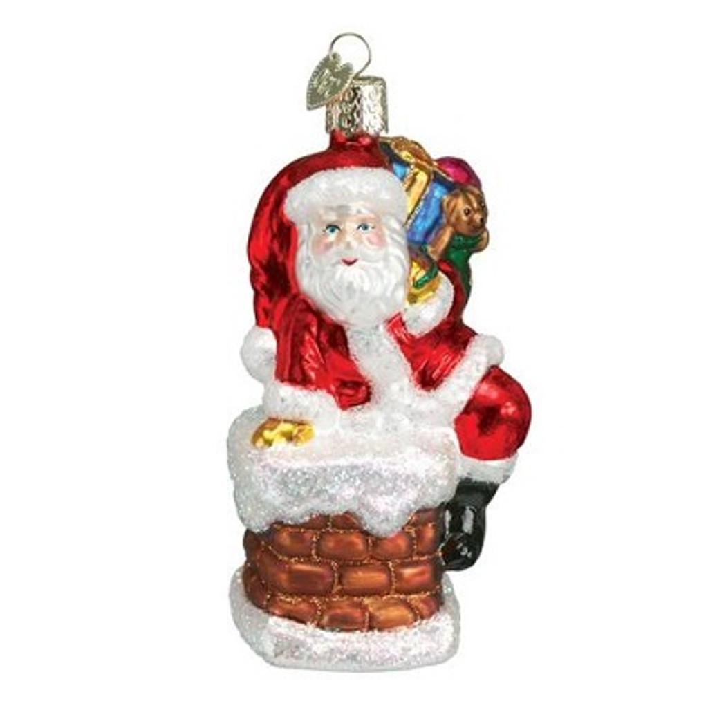 Old World Glass - Santa in Chimney Ornament