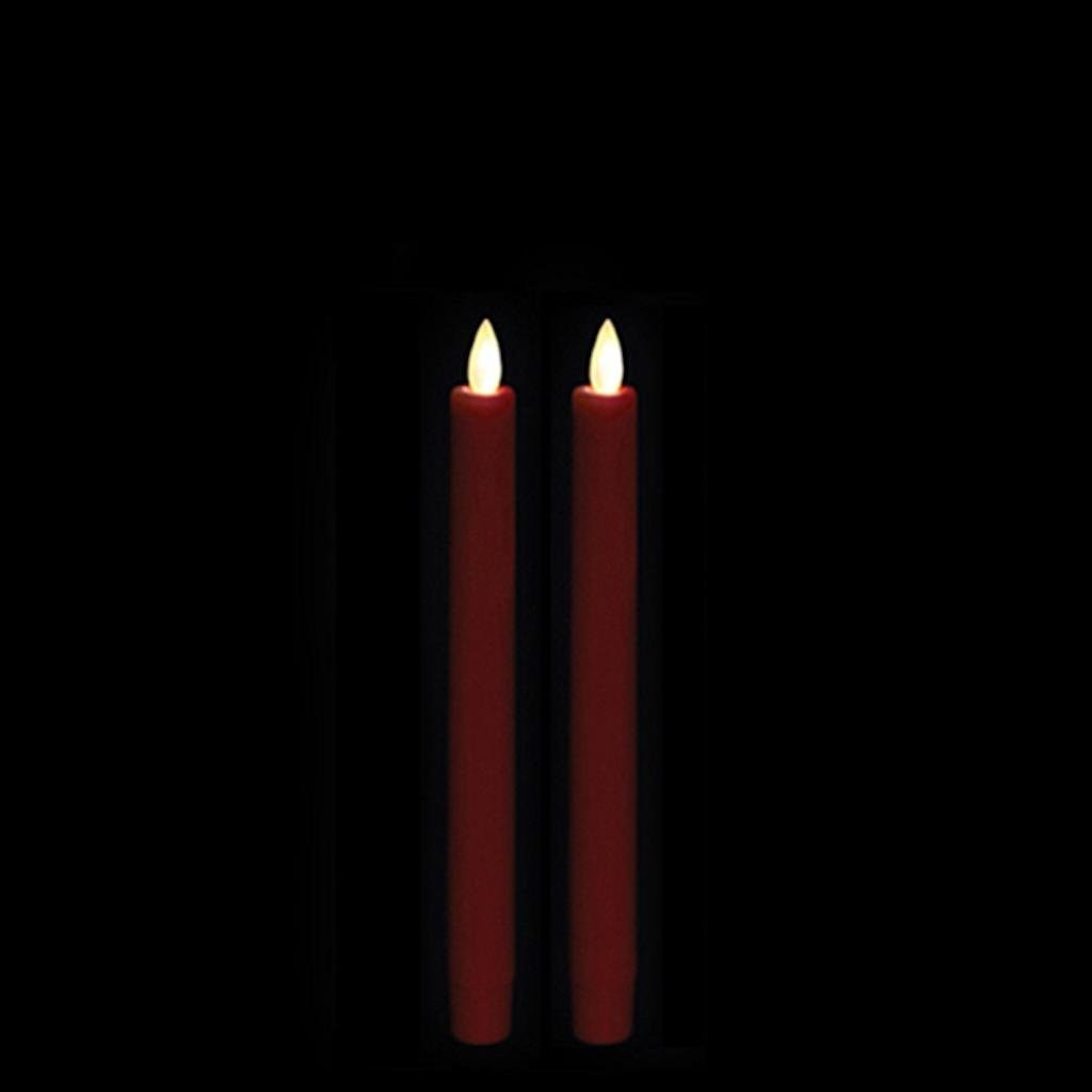 """8"""" Red LED Battery Operated Wax Taper Candle with Timer (2 pack)"""