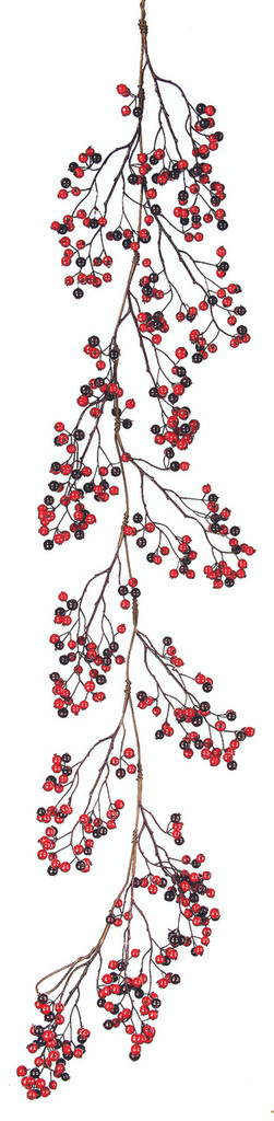 MINI CRABAPPLE, BERRY GARLAND 60'' RED AND BURGUNDY