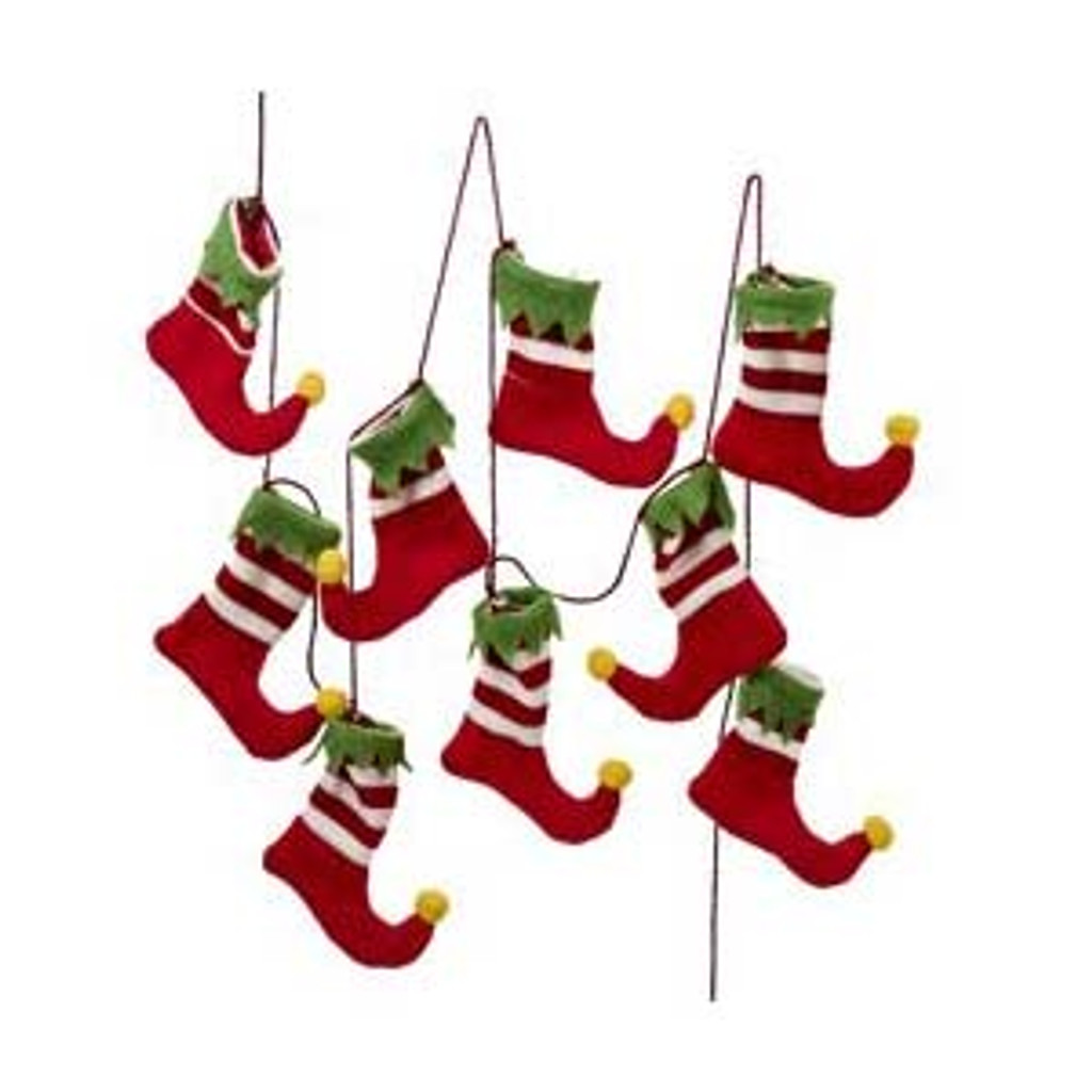 Red and White Elf Stocking Garland