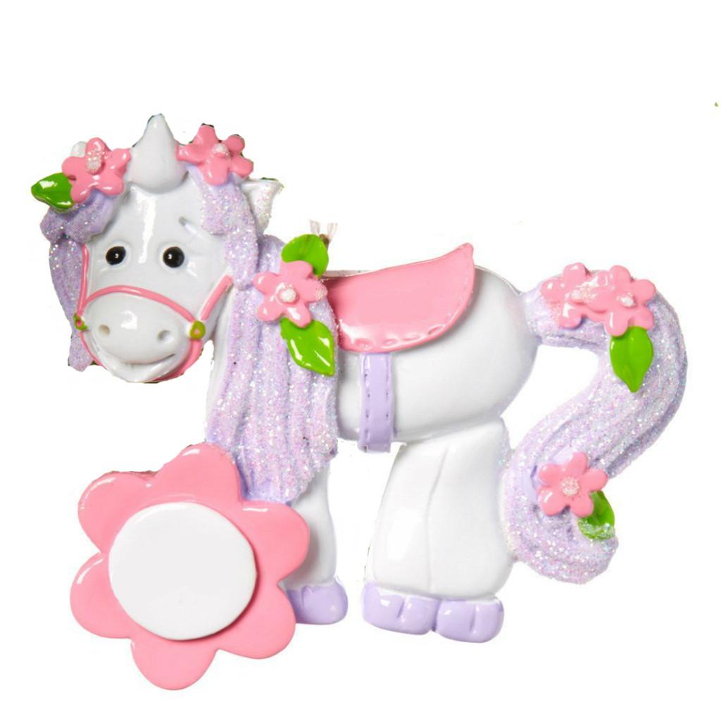 Free Personalization - Pink Unicorn Ornament