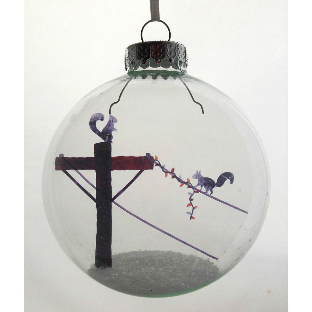 Squirrels on wire Celluloid Print Ornament - Handmade by Artist Glāk Love