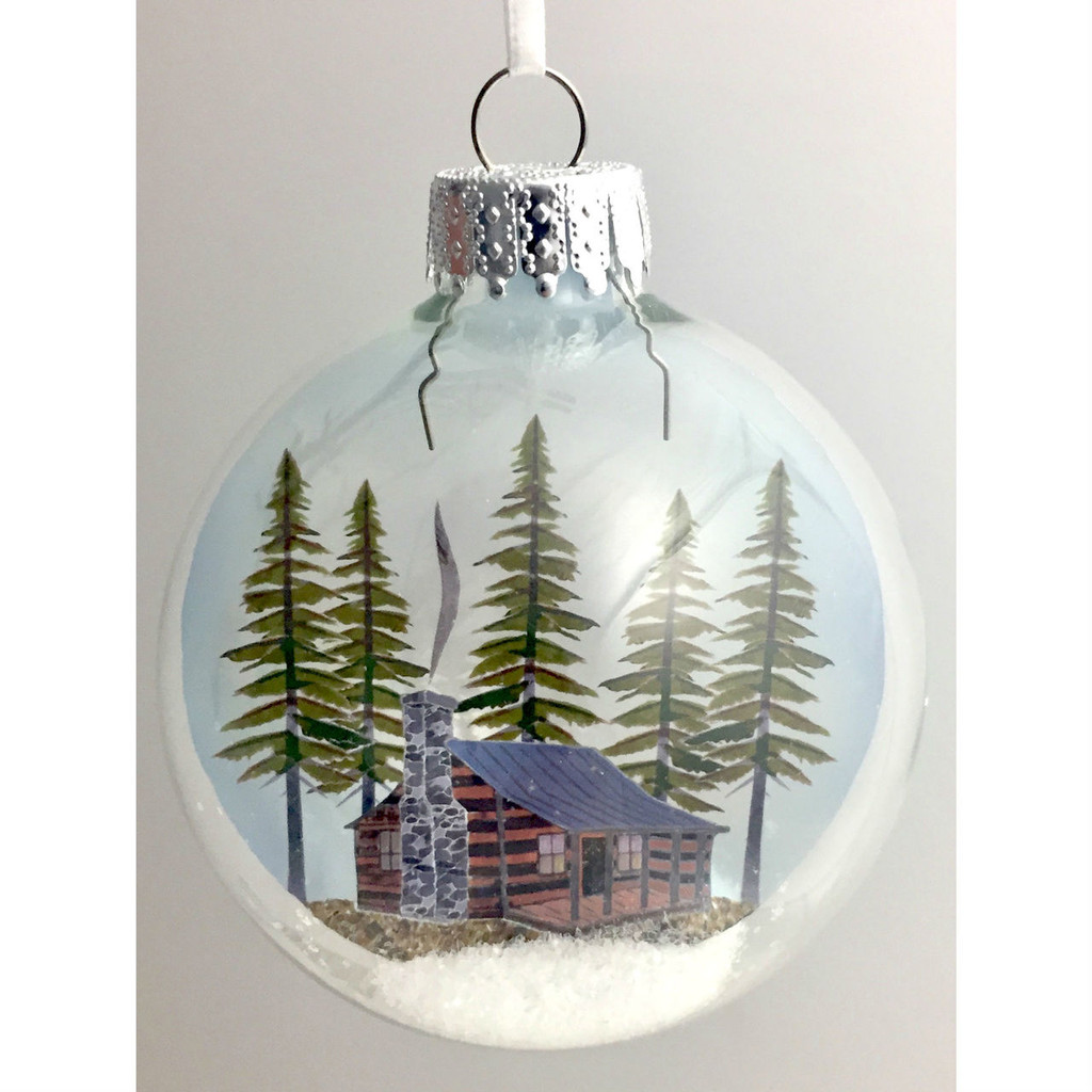Winter Cabin in Snow on Celluloid Print Ornament - Handmade by Artist Glāk Love