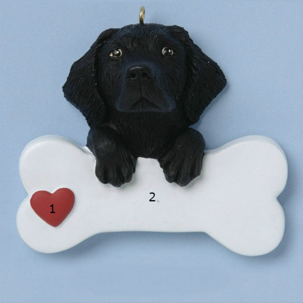 Free Personalization -  Black Lab Dog Bone Ornament