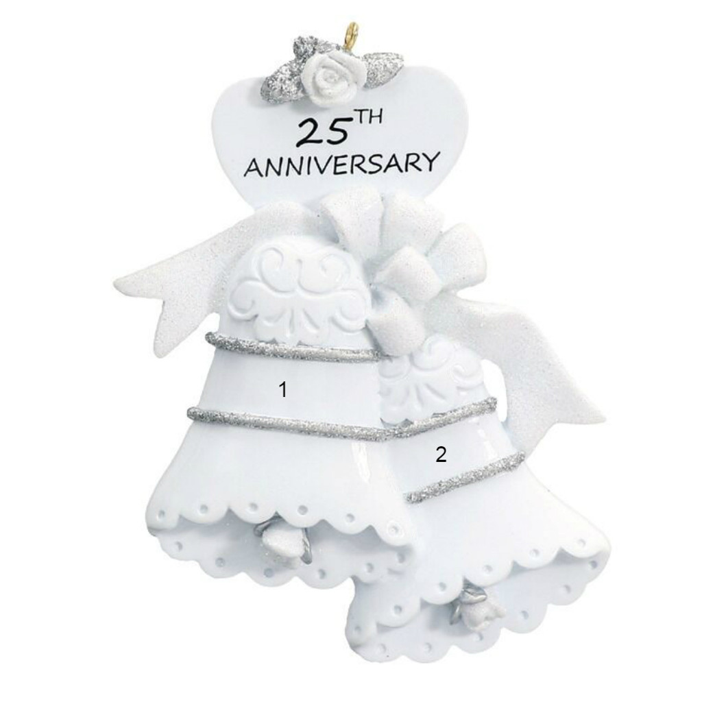 Free Personalization - 25th Anniversary Bells Ornament