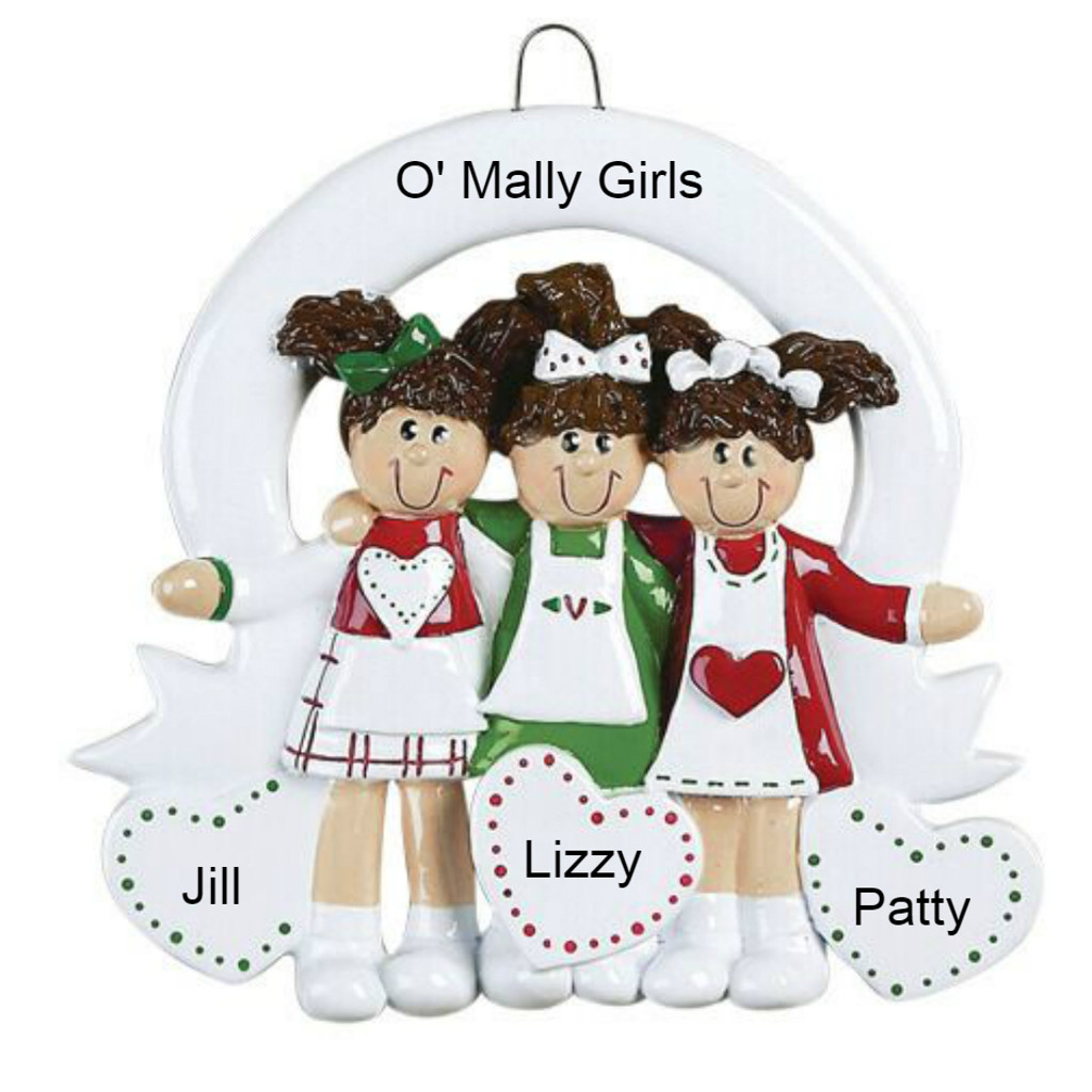 Free Personalization - 3 Sisters or Friends Ornament