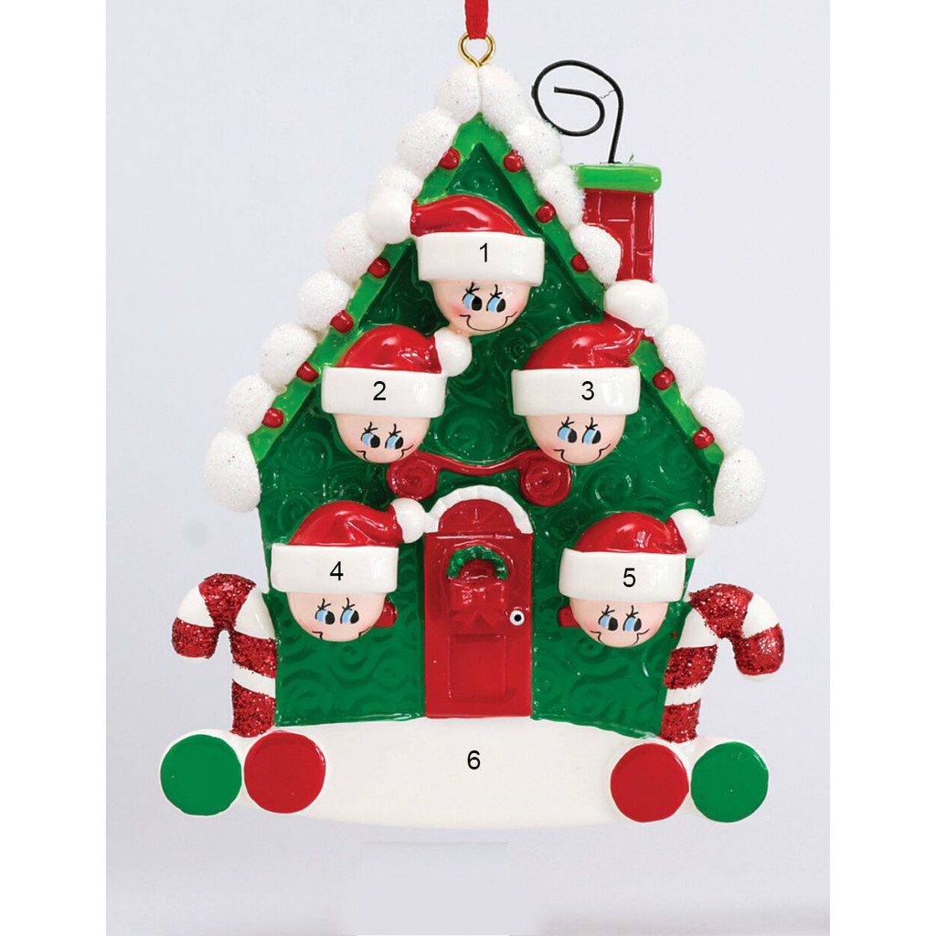 *New for 2017* Free Personalization - Candy Cane House of 5 Ornament