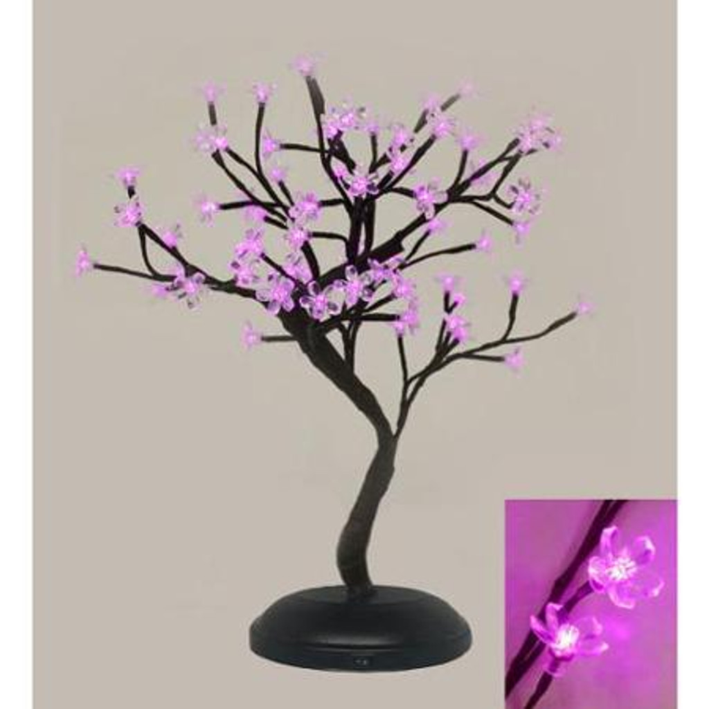 Indoor / Outdoor Table Top Bonsai Tree - Pink LED Lights