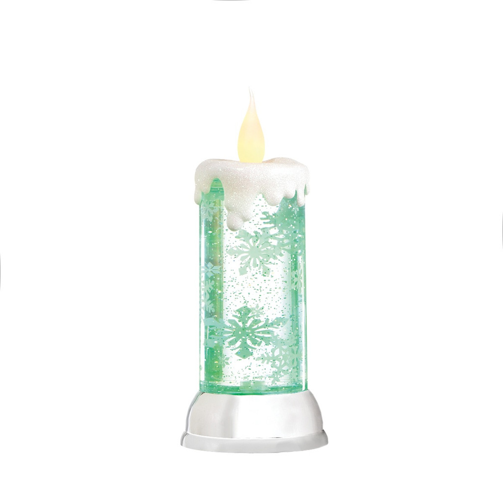 """10.5"""" Tabletop Snowflake Rotating Shimmer Candle Christmas Glitterdome"""