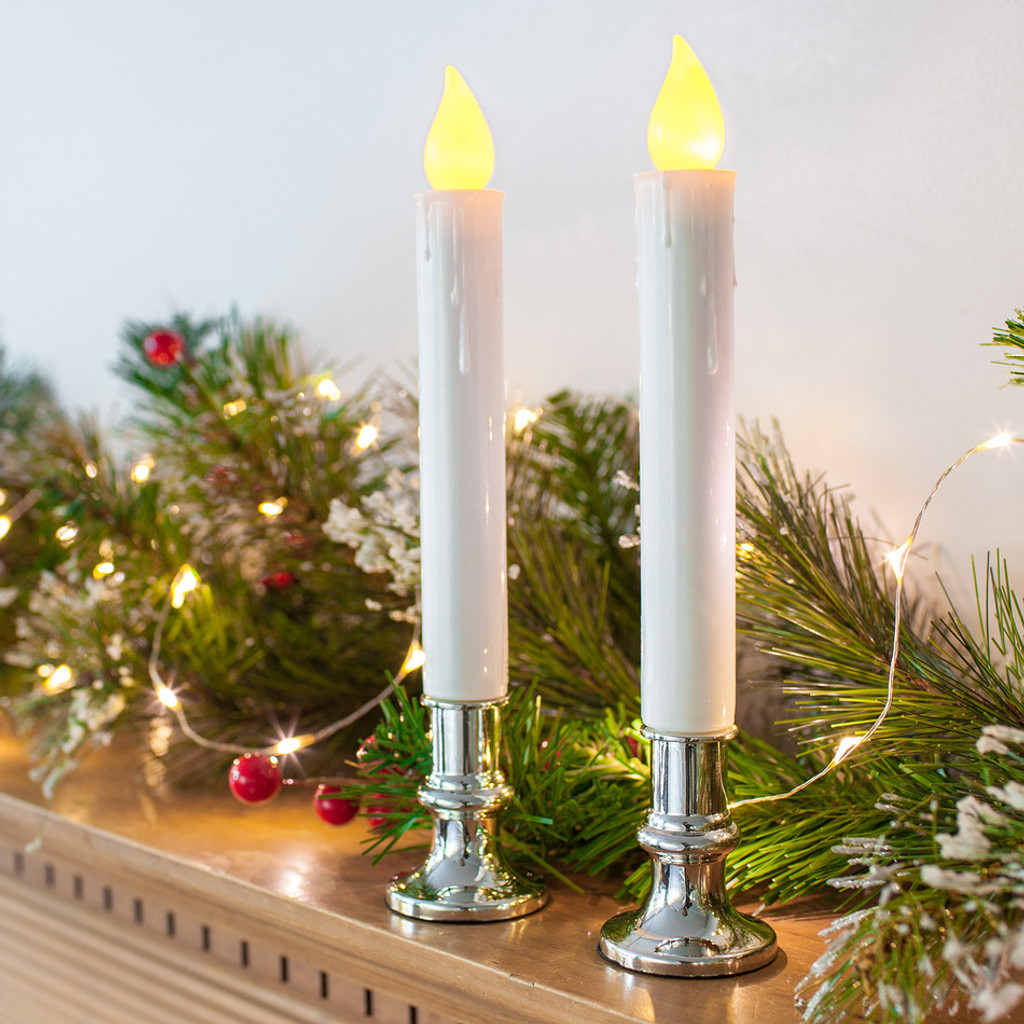 Flickering White Taper Window Candle with Removable Silver Base - Set of 2
