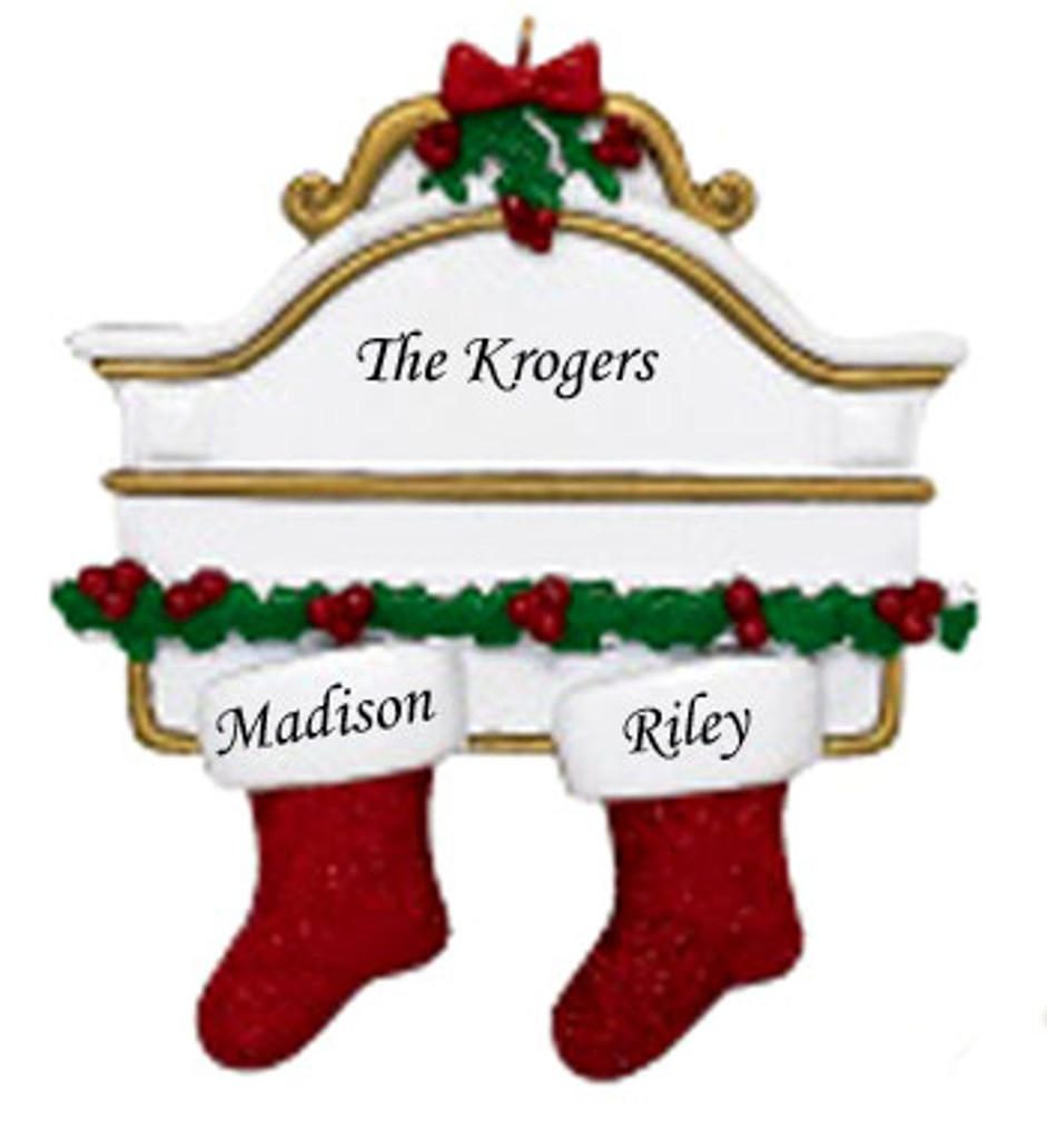 Free Personalization*  White Mantle with 2 glittering red stockings Ornament