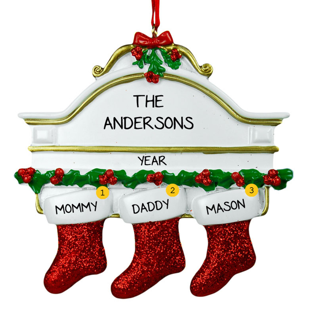Free Personalization*  White Mantle with 3 glittering red stockings Ornament