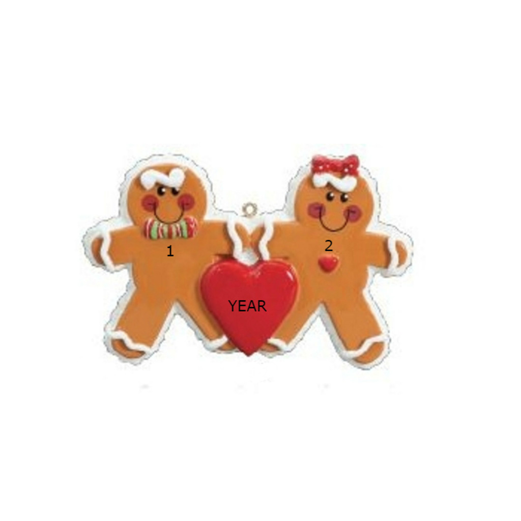 Free Personalization* 2 Gingerbread People with Red Heart Ornament
