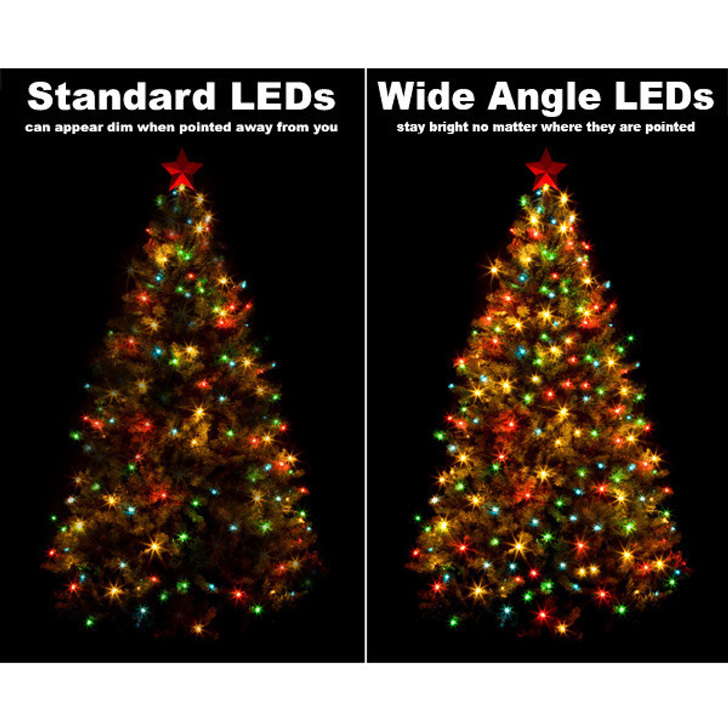 25 FT - STRING LIGHTS - LED 5MM WIDE ANGLE (50 LEDS) - YELLOW BULB ON GREEN WIRE - 4X6X4