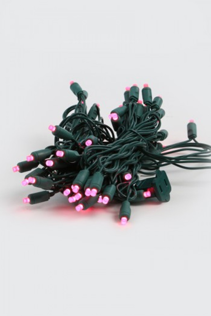 25 FT - PINK STRING LIGHTS ON GREEN WIRE - LED 5MM WIDE ANGLE (50 LEDS)
