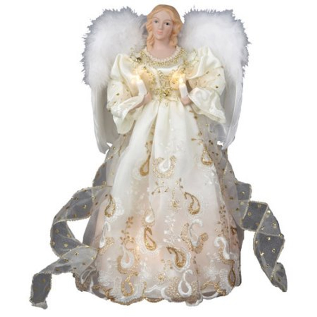 White Satin with Gold trim Angel Christmas Tree Topper