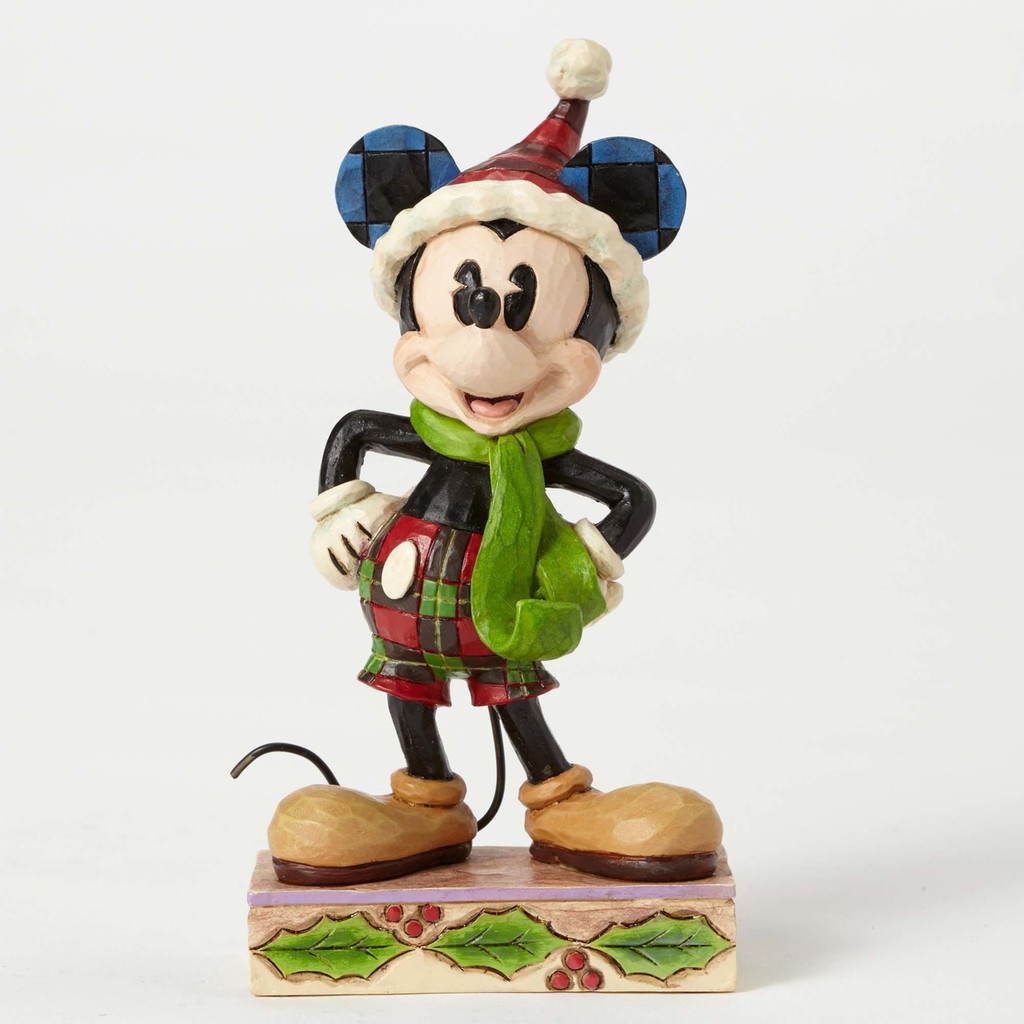 Jim Shore Disney Traditions - Mickey Mouse posing with Green scarf