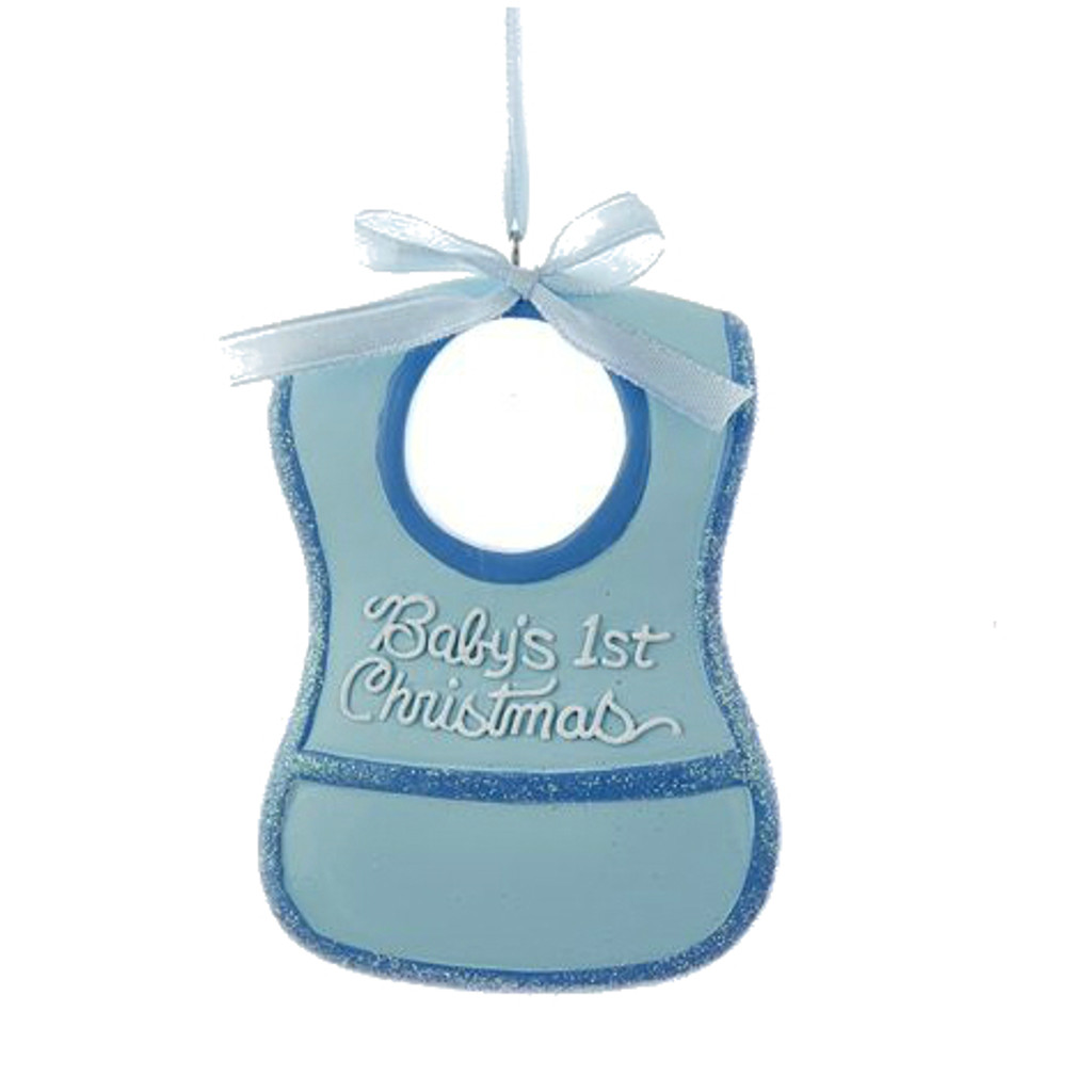 Personalizable -  Baby's First Christmas Bib Boy Ornament