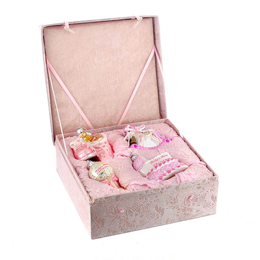 Noble Gems Glass Baby Girl Ornament Set of 4