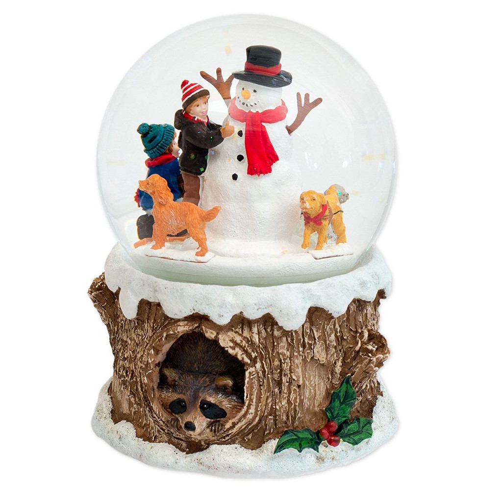 Dogs with Snowman Musical Snow Globe