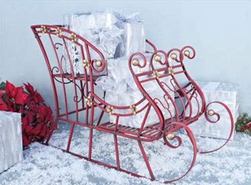 Red Metal Sleigh Outdoor/Indoor Christmas Display