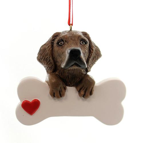 Personalizable -  Chocolate Lab Dog Bone Ornament
