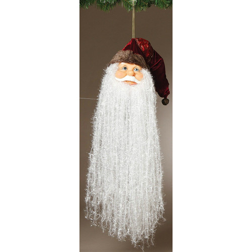 "18"" Bearded Santa Head with Fancy Red Hat Ornament"