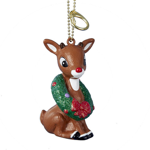 Rudolph with Wreath Clip-On Ornament