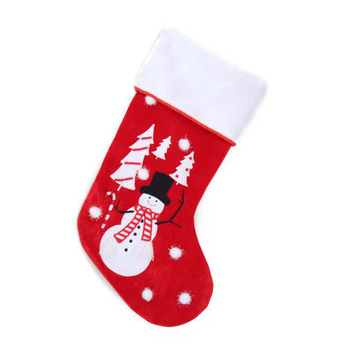 VELVET RED AND WHITE FESTIVE CHRISTMAS STOCKING WITH SNOWMAN