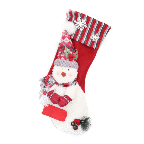 RED STRIPED FESTIVE CHRISTMAS STOCKING WITH JOYFUL SNOWMAN , PERSONALIZABLE