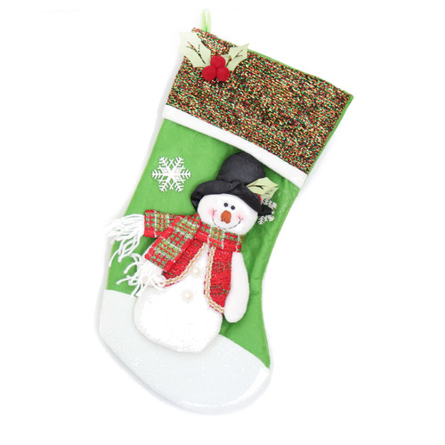 GLITTERING GREEN FESTIVE CHRISTMAS STOCKING WITH TEDDY SNOWMAN