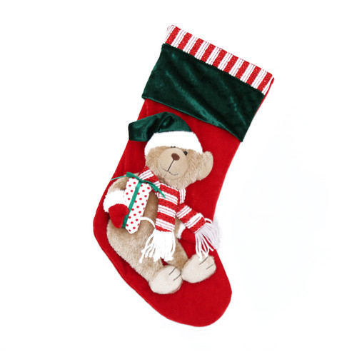 GREEN AND RED CHRISTMAS BEAR CHRISTMAS STOCKING