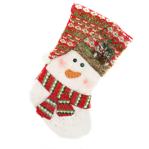KNIT SWEATER SNOWMAN CHRISTMAS STOCKING WITH HOLLY