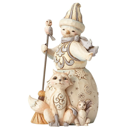 Jim Shore Heartwood Creek - White Woodland Pint Size Snowman with Fox