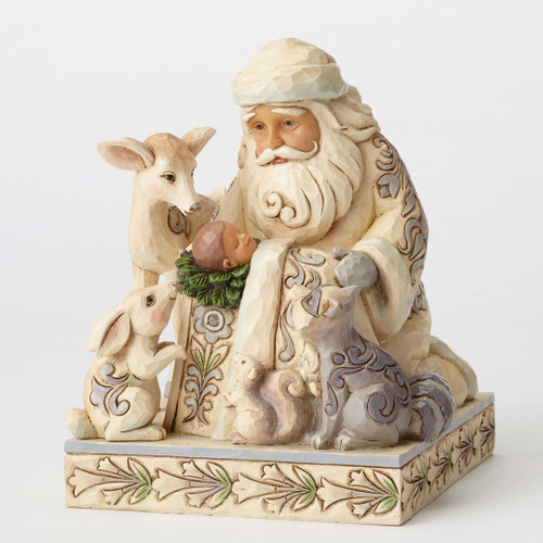 Jim Shore Heartwood Creek - White Woodland Miracle in the Moonlight Woodland Santa with Baby Jesus