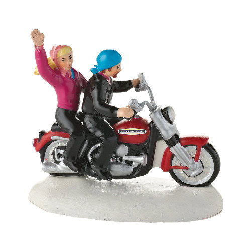 Department 56- Original Snow Village Accessories- Always a Fun Time on a Harley