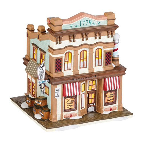 Department 56 New England Village J.C. Hope Barber Lit House, 6-Inch