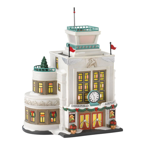 Department 56 Christmas in The City Village Deerfield Airport Lit House, 8.19-Inch
